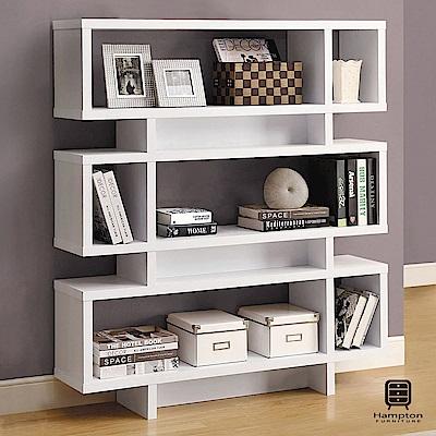 漢妮Hampton尼爾系列摩登書櫃(白色)-120x29.5x138.5cm
