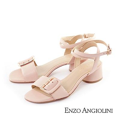 ENZO ANGIOLINI--方扣一字繞帶中跟涼鞋-迷人粉