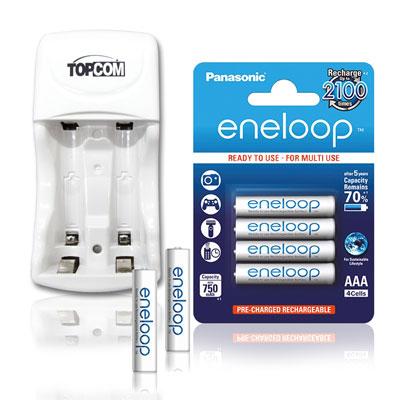 國際牌 eneloop 4號800mAh低自放充電電池(4顆入)+TOP智能雙迴充電器