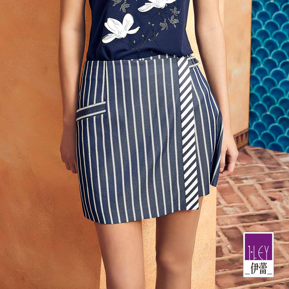 ILEY伊蕾 配色剪接條紋造型褲裙(藍)