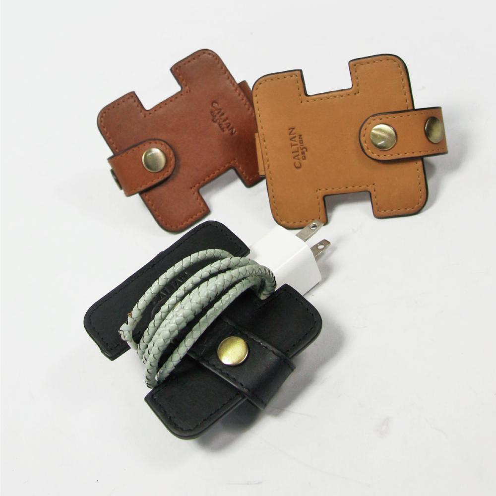 CALTAN-集線器 真皮 牛皮 工字設計 耳機 充電線都合適-2182