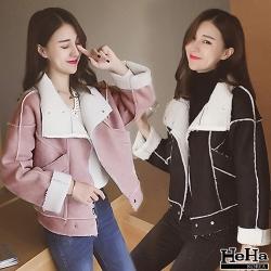 夾克 麂皮絨加厚保暖短版外套 二色-mini嚴選