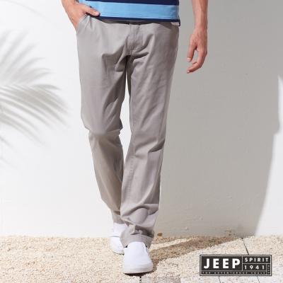 JEEP 美式簡約素面休閒長褲 (淺灰色)