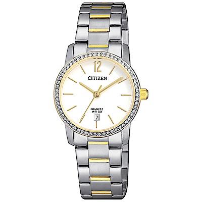 CITIZEN星辰 時尚麗緻半金點綴石英女錶 (EU6038-89A)-白色/27mm