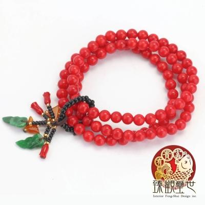 臻觀璽世 青春亮麗的紅珊瑚佛珠/手鏈/手鍊