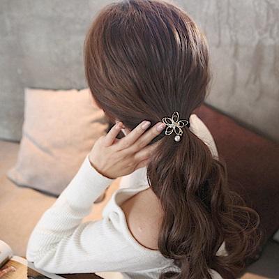 Hera 赫拉 韓版唯美鏤空花朵鐵藝珍珠吊墜髮圈-2色