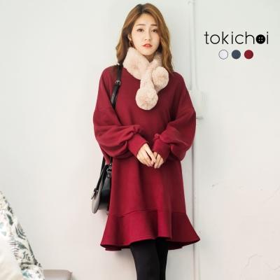 東京著衣 多色甜美拋袖魚尾裙長袖洋裝(共三色)