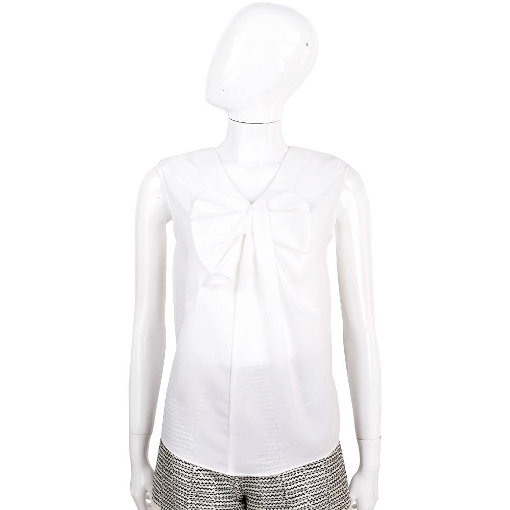 EDWARD ACHOUR PARIS 白色抓褶蝴蝶結飾無袖上衣