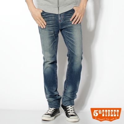 5th STREET 復古刷洗 1965純棉窄直筒牛仔褲-男款(中古藍)