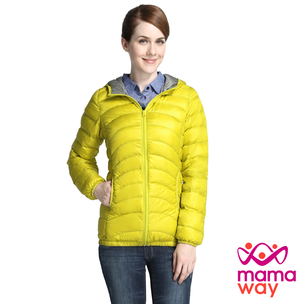 Mamaway 親子兩用亮色配色輕羽絨外套(檸檬黃)