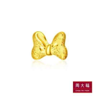 周大福 迪士尼經典系列 米妮蝴蝶結黃金耳環(單耳)