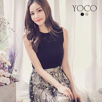 東京著衣-yoco 夏日沁甜鏤空針織無袖背心-S.M.L(共二色)