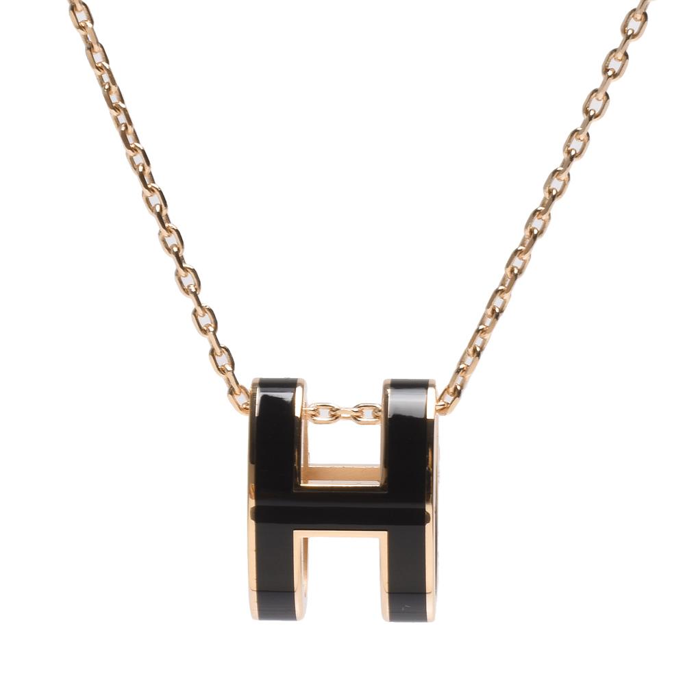 HERMES 經典Pop H立體簍空橢圓LOGO項鍊(黑X金)