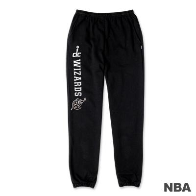NBA-華盛頓巫師隊印花縮口綿長褲-黑色-女