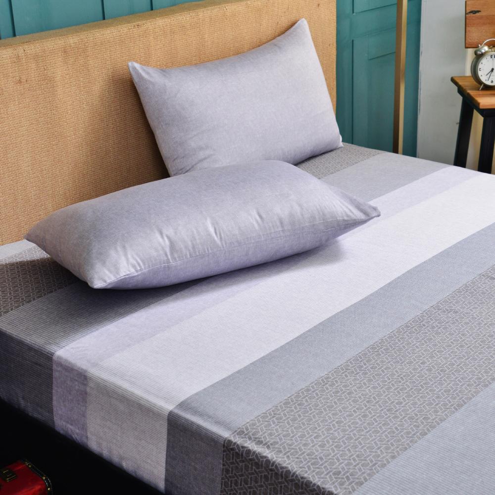 Saint Rose 麻趣部落-灰 雙人100%純天絲枕套床包三件組