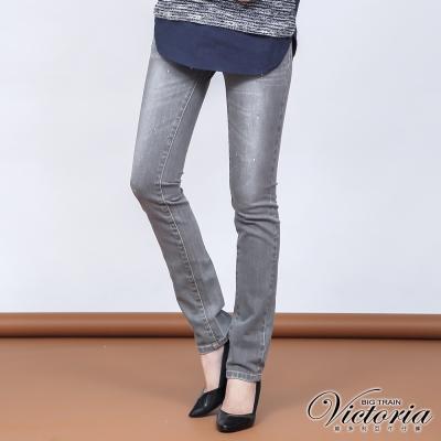 Victoria 低腰中灰水洗白點九分褲-女-中灰
