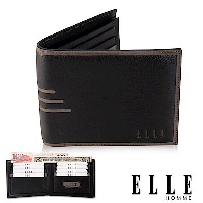 福利品 ELLE 橫條壓紋系列 嚴選頭層皮網狀證件層/名片多格層短夾- 黑色
