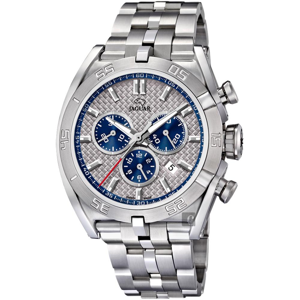 JAGUAR積架 EXECUTIVE 極速計時手錶-銀x藍圈/45.8mm