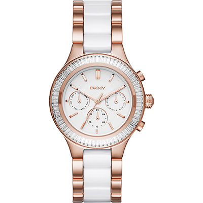 DKNY Ceramic 晶鑽陶瓷日曆時尚腕錶-白x玫塊金/38mm