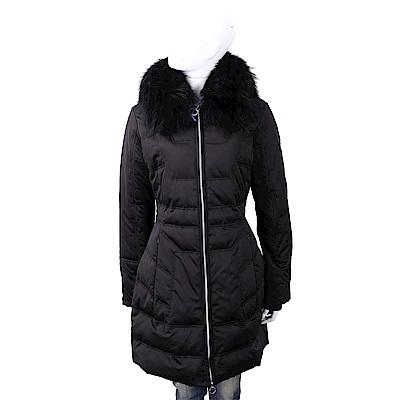 VERSACE 浣熊毛領黑色幾何絎縫羽絨大衣