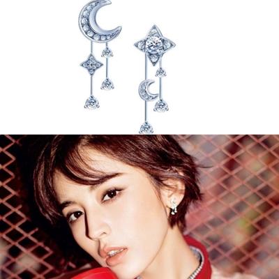 梨花HaNA 韓國925銀星星月亮點綴夜空耳環