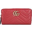 GUCCI GG Marmont 牛皮絎縫拉鍊長夾(紅色)