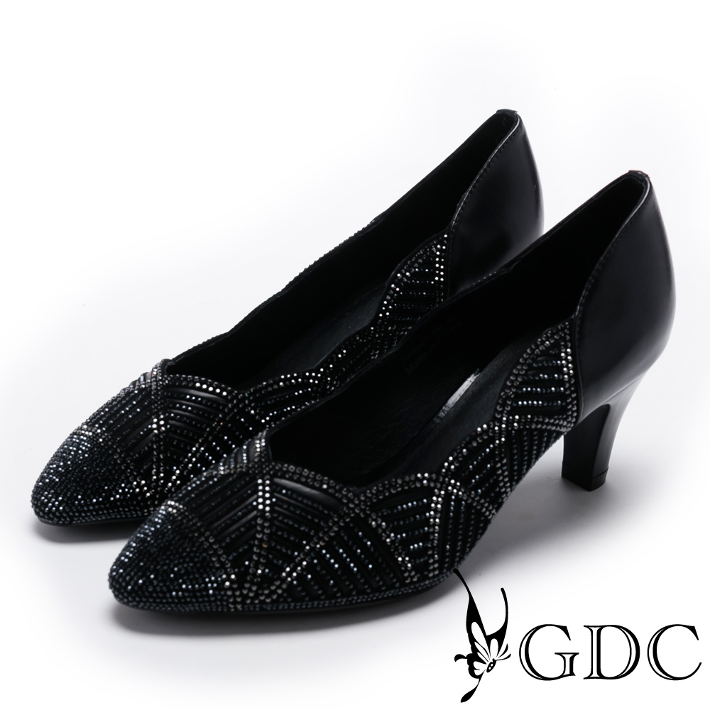 GDC-側邊波浪交叉幾何水鑽低跟尖頭鞋-黑色