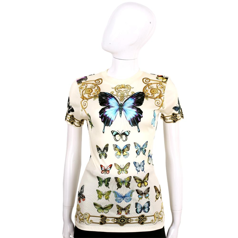 VERSACE 米黃色蝴蝶圖騰短袖上衣