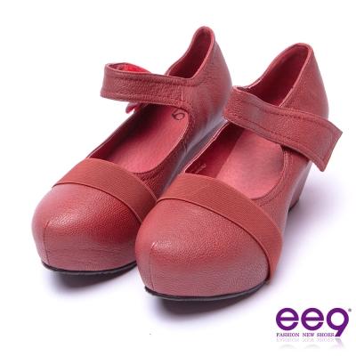 ee9 酷勁個性圓中帶尖百搭隱藏內增高楔型跟鞋 紅色