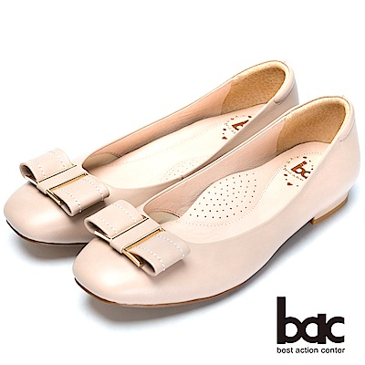 bac舒適真皮經典裝飾真皮低跟鞋-粉膚