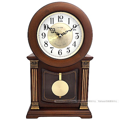 RHYTHM麗聲 復古實木敲鐘音樂報時座鐘/33cm