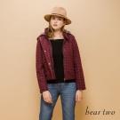 beartwo 格紋短版保暖連帽外套(暗紅格紋)