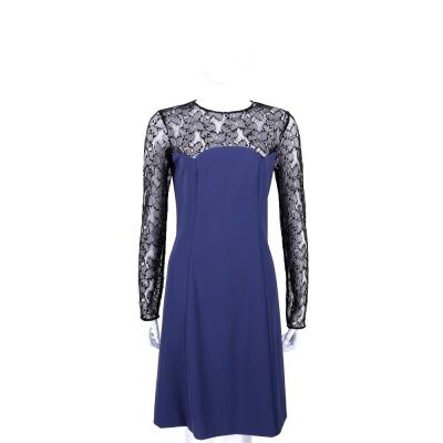 MOSCHINO 藍色拼接蕾絲長袖洋裝