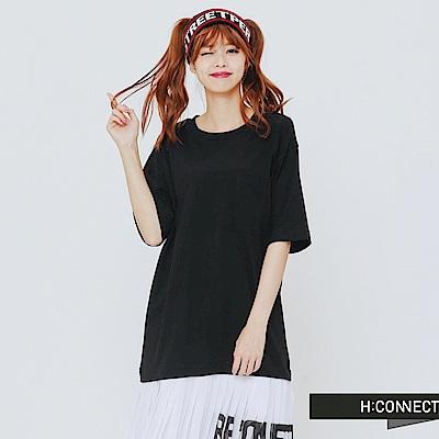 H:CONNECT 韓國品牌 女裝-下擺拼接百摺洋裝-黑 - 動態show
