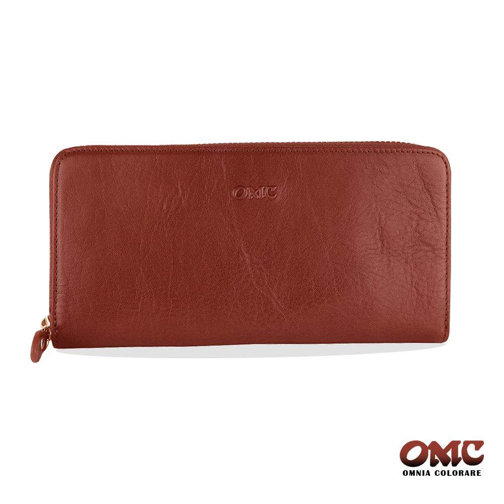 OMC 原皮系列-植鞣牛皮單拉鏈後袋12卡透明窗多隔層零錢長夾-咖啡