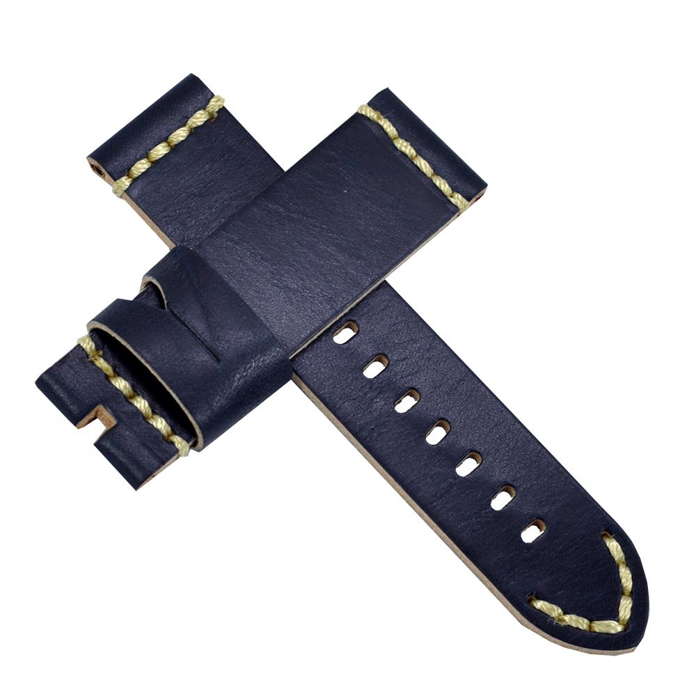 【手表達人】Panerai 沛納海代用進口錶帶-皮革/黑藍/24mm