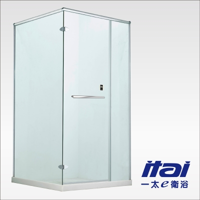 一太淋浴門-無框L字型防爆淋浴門(寬201~220cm x 高200cm範圍以內)