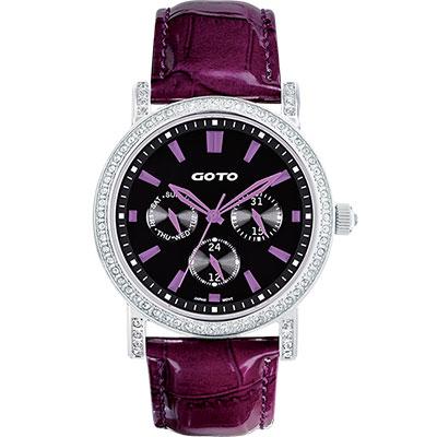 GOTO 天使的溫柔全日曆晶鑽腕錶-黑x紫時標/40.5mm