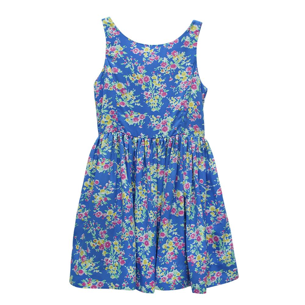 Ralph Lauren 女童碎花無袖連身裙洋裝-藍色-(10歲)