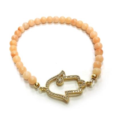 One of a kind 裸粉色玉石 白色晶鑽 大版金色幸運手掌 HAMSA彈性伸縮手鍊