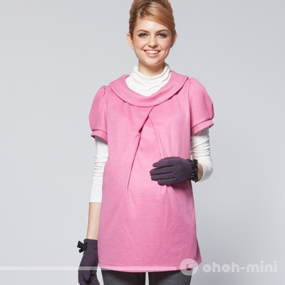 【ohoh-mini 孕婦裝】法式圓領側邊餵哺孕哺上衣
