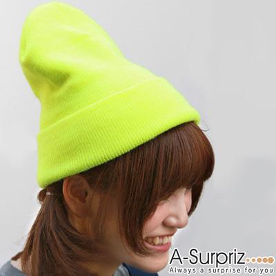 A-Surpriz 個性潮流螢光色系針織帽(螢光黃)