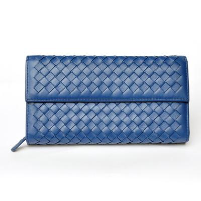 Yasmine時尚經典綿羊皮編織釘釦長夾(寶藍色)