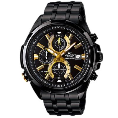 EDIFICE 雙黑光LED霓虹照明賽車腕錶(EFR-536BK-1A9)-黑x金時針/48mm