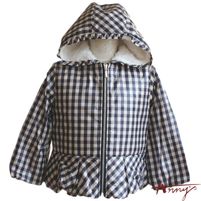 方格紋防風連帽鋪棉外套*1460米白