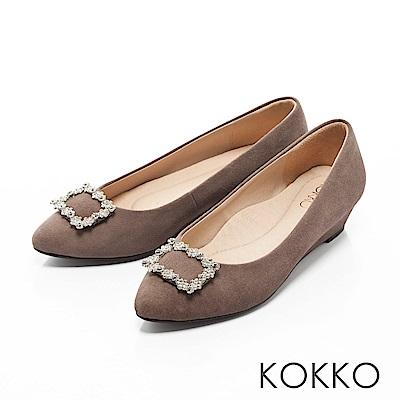 KOKKO- 漫舞春意花鑽尖頭楔形跟鞋 - 質感灰