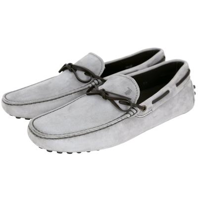 TOD'S Gommino Driving 綁帶拼接麂皮豆豆休閒鞋(淺灰色)