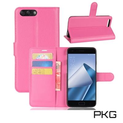 PKG ASUS Zenfone4  ZE554KL 側翻式皮套經典皮革-玫粉