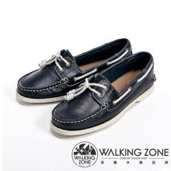 【WALKING ZONE】英倫 真皮手工白線車縫帆船雷根女鞋-深藍
