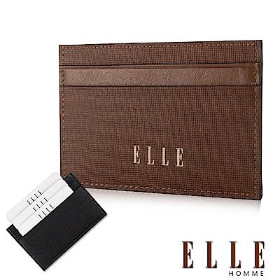 福利品 ELLE 法式精品防刮紋系列 頭層皮耐磨防刮簡易攜帶型證件夾- 咖啡色